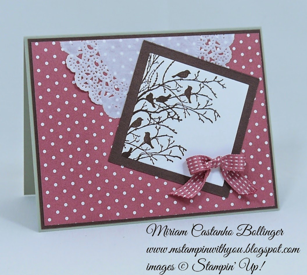 Miriam Castanho Bollinger, #mstampinwithyou, stampin up, demonstrator, rs158, serene silhouettes, squares collection, in color dsp, tea lace paper doilies, su