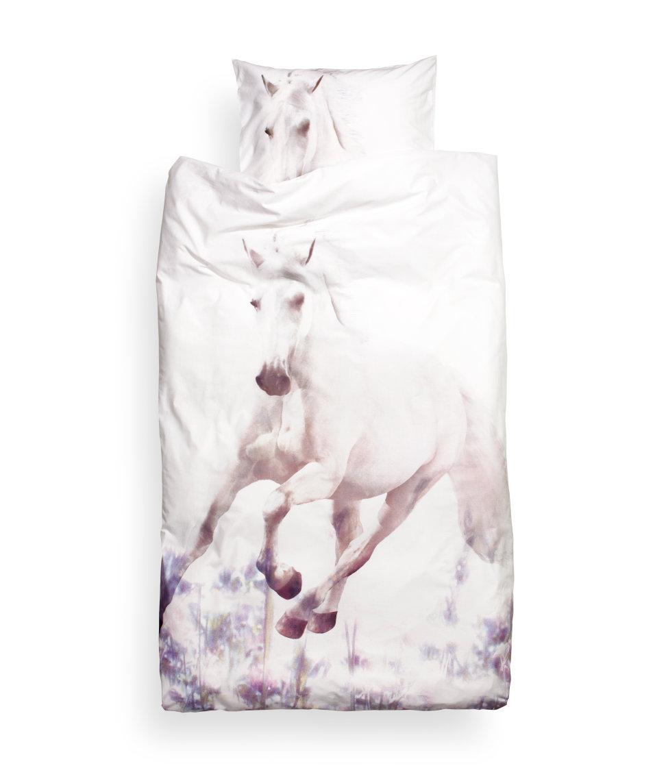 Photographic white horse print duvet set for kids trot on style
