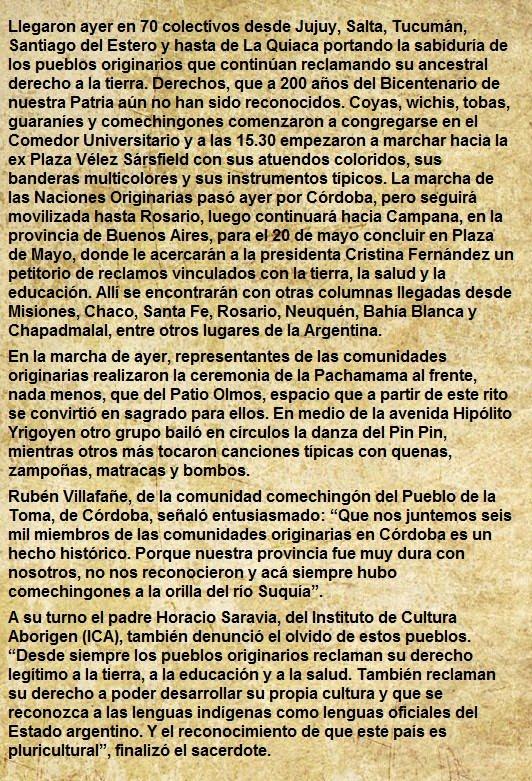 MARCHA DE ORIGINARIOS Diario Día a Día (18-05-2010)