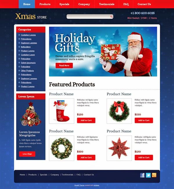 Xmas Store - Free Drupal Theme