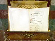 Ejemplar de la Constitución conservado en el Congreso de los Diputados.