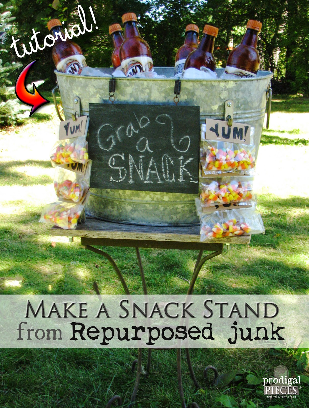 DIY Repurposed Snack Stand Tutorial by Prodigal Pieces http://www.prodigalpieces.com