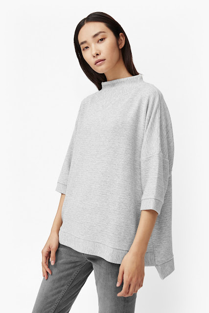 french connection grey ribbed top,