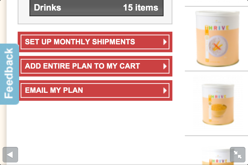 My Family Prepared Thrive Online Food Storage Calculator