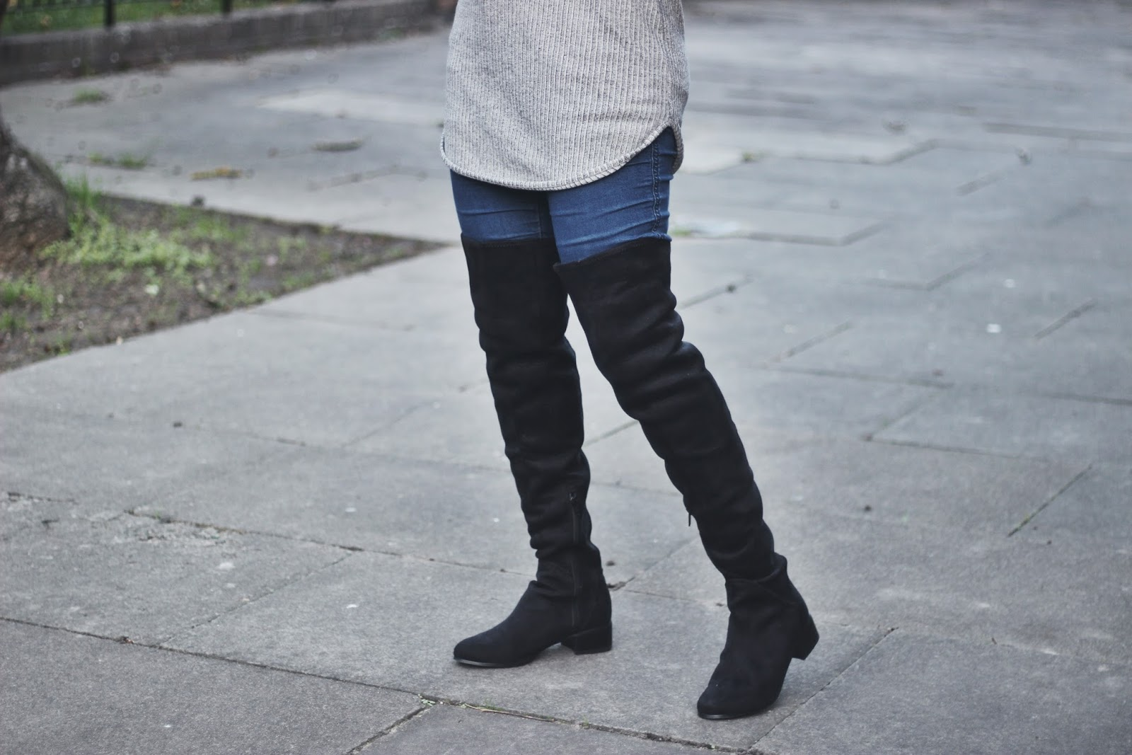 Black Suede Thigh High Flat Boots
