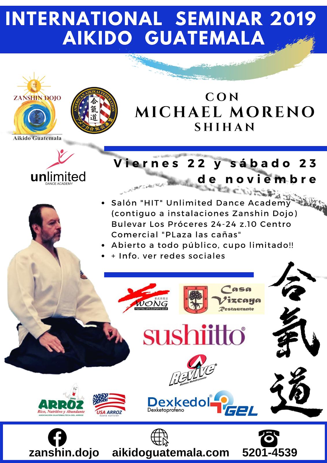 Afiche 17vo. Seminario Zanshin Dojo Aikido Guatemala