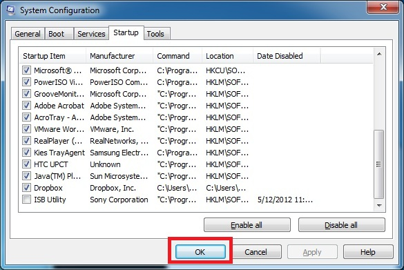 how to disable auto start programs in windows 7