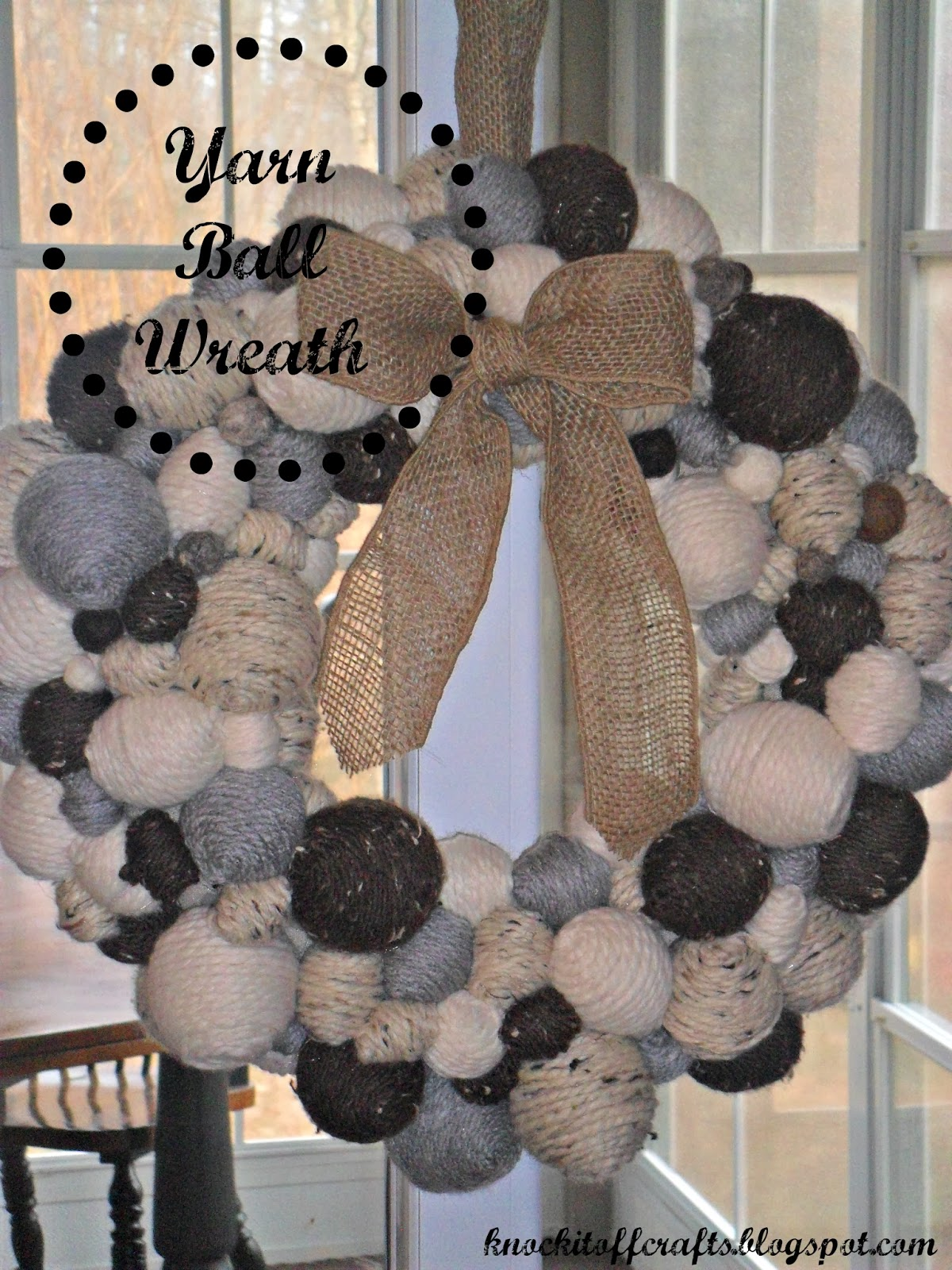 Someday Crafts: Yarn Ball wreath