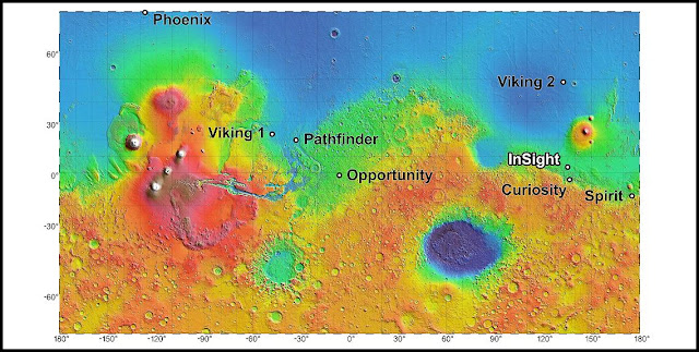 The process of selecting a site for NASA's next landing on Mars, planned for September 2016, has narrowed to four semifinalist sites located close together in the Elysium Planitia region of Mars. The mission known by the acronym InSight will study the Red Planet's interior, rather than surface features, to advance understanding of the processes that formed and shaped the rocky planets of the inner solar system, including Earth. Image Credit: NASA/JPL-Caltech