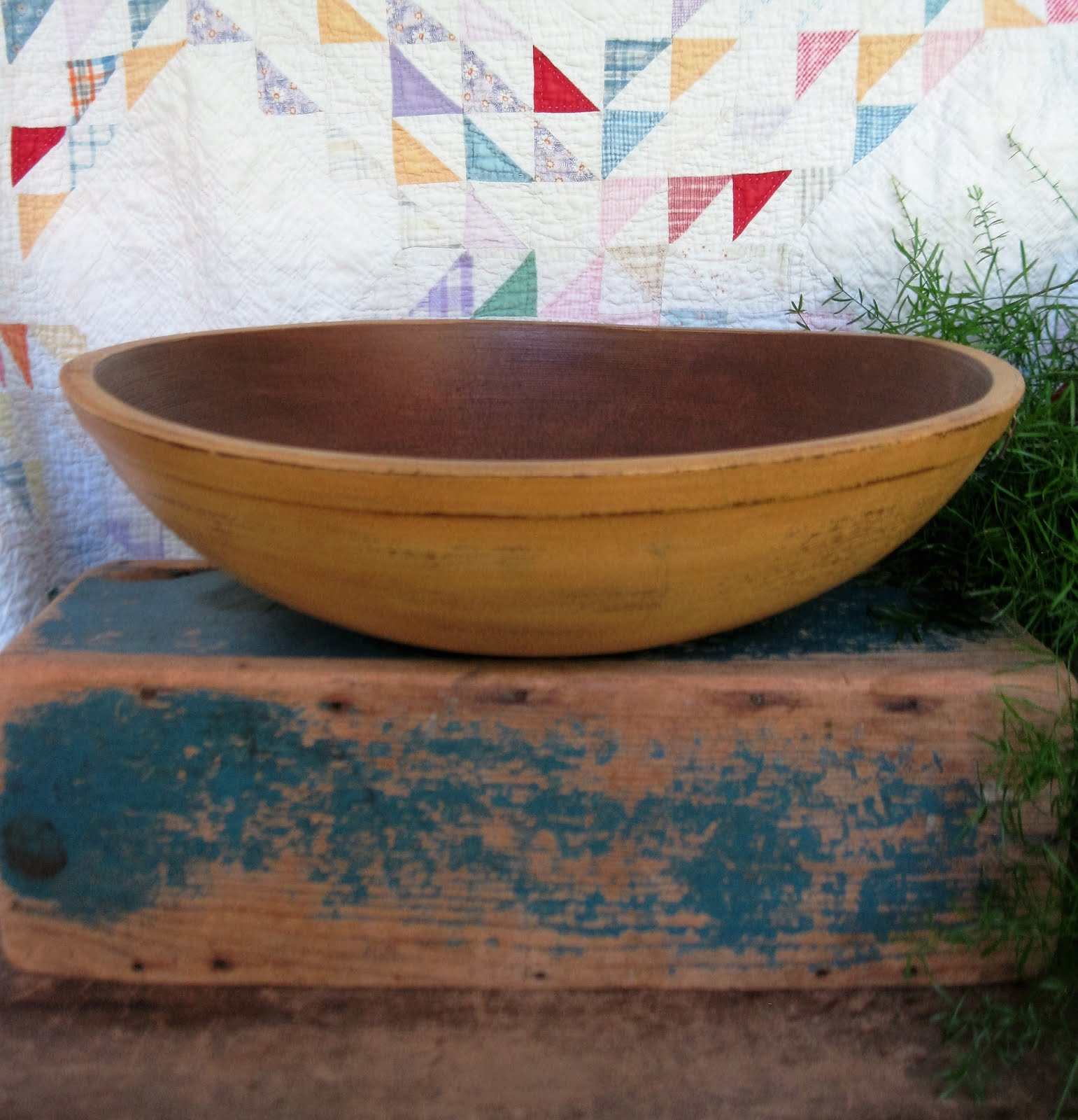 huge early dough bowl new milk paint