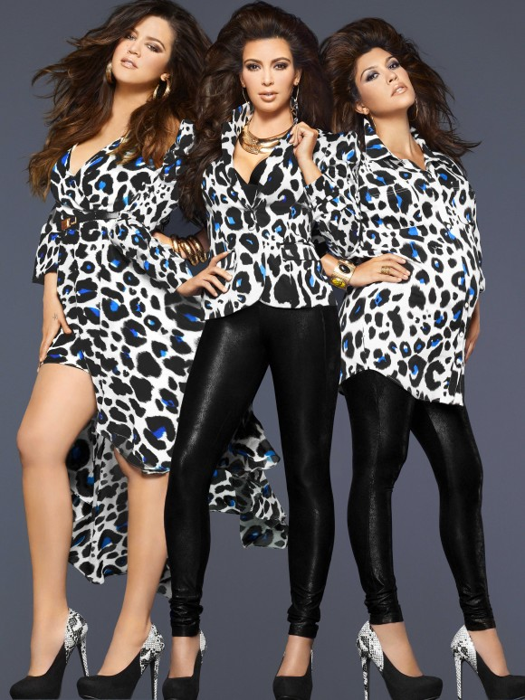 Kim Khloe Kourtney Kardashian Wear Kardashian Kollection Blue Leopard