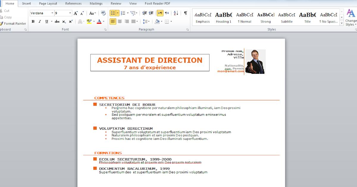 docx  t u00e9l u00e9charger un mod u00e9le de cv assistant de direction