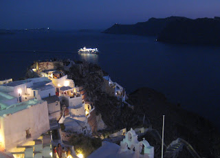 The view from the tip of Oia out into the caldera.