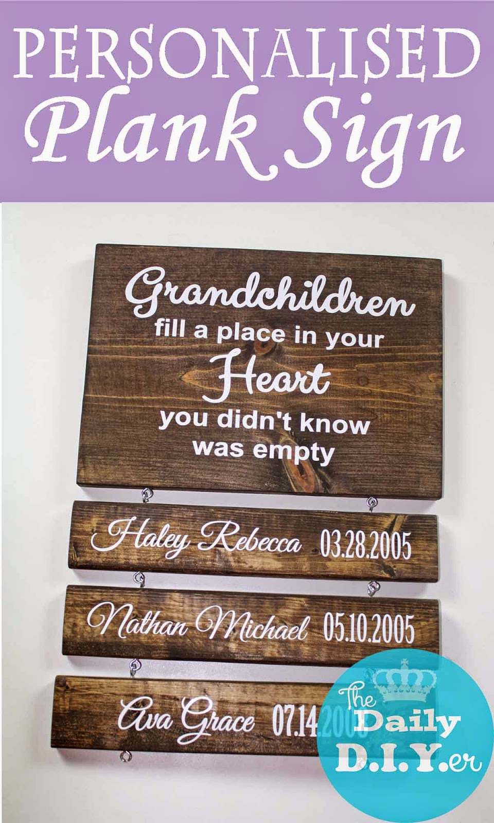The daily diyer grandchildren plank sign for What to get grandma for mother s day