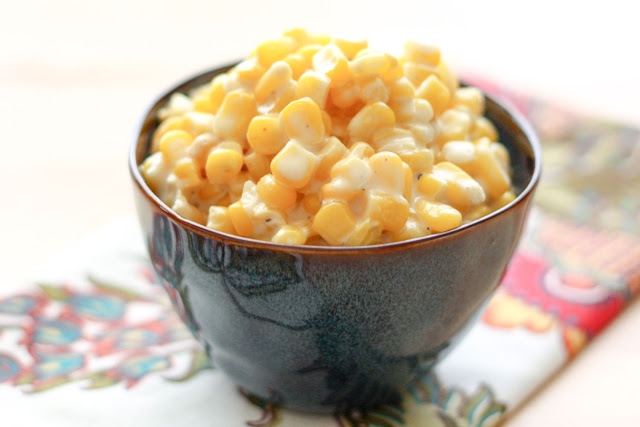 Rudy's Slow-Cooker Creamed Corn - get the recipe at barefeetinthekitchen.com