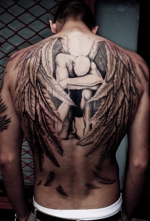 fashion buster angel tattoos for men. Black Bedroom Furniture Sets. Home Design Ideas