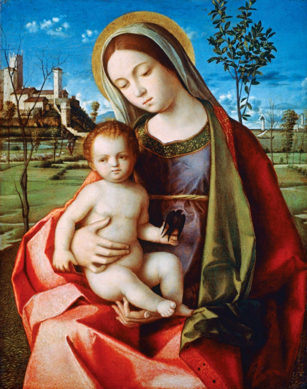 Renaissance painting depicting baby Jesus on the lap of the Virgin Mary