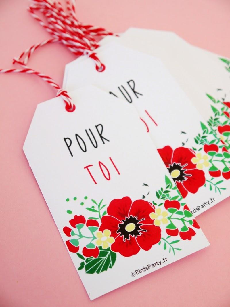 F te de naissance ou baby shower th me coquelicots f tes party printables - Fete pour naissance bebe ...
