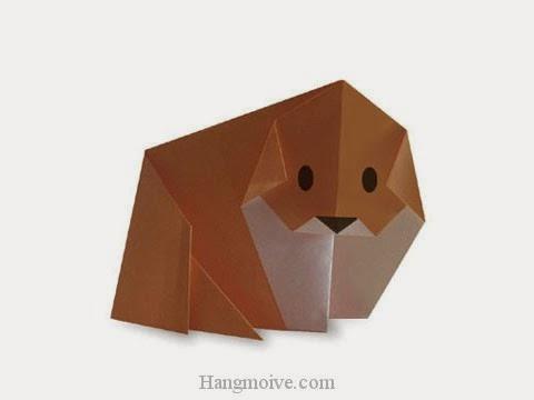 Cách gấp, xếp con Chó Akita Inu bằng giấy origami - Video hướng dẫn xếp hình - How to make a Dog