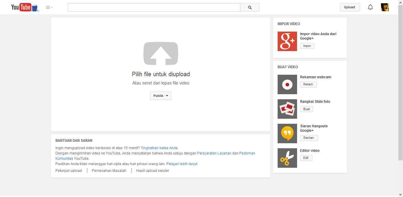 Cara Upload Video YouTube 3