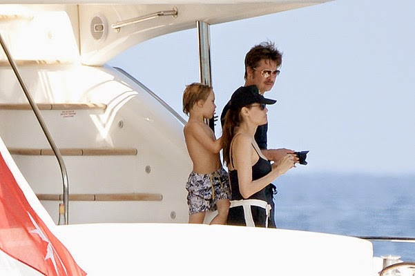 Angelina Jolie and Brad Pitt with their children in Malta