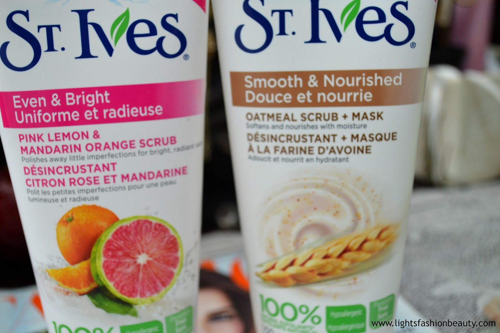 St Yves Scrub, St Yves pink lemon & mandarin orange scrub, St Yves oatmeal scrub and mask,