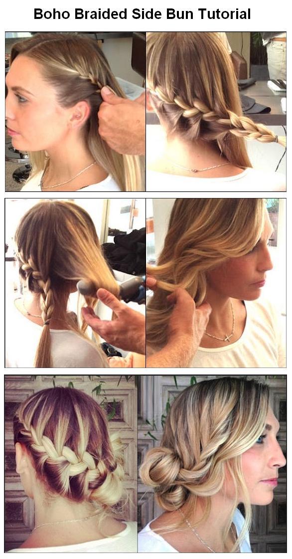 New Short Hair Styles Make A Boho Braided Side Bun For Hair