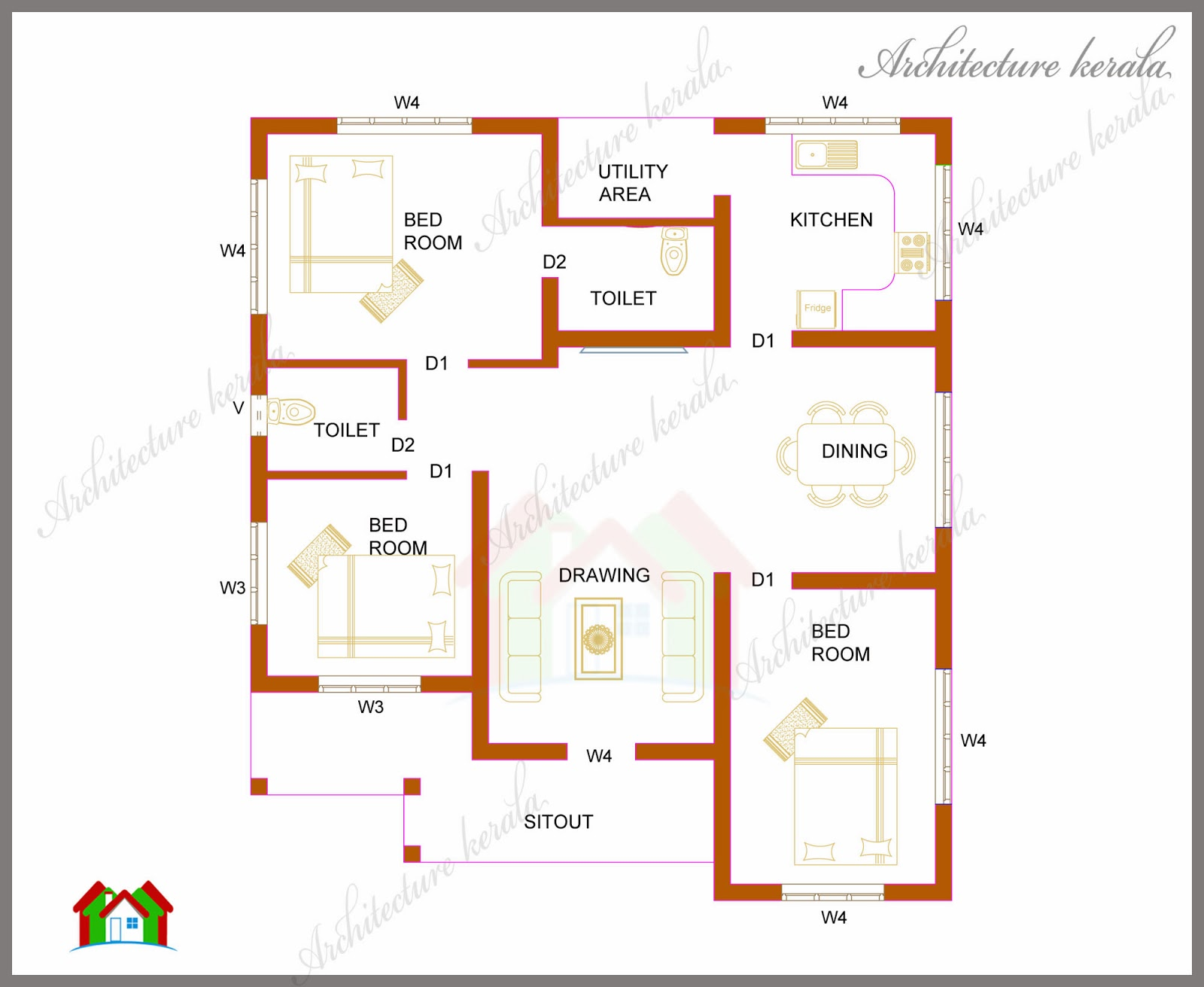 Three bedrooms in 1200 square feet kerala house plan for Three bedroom plan