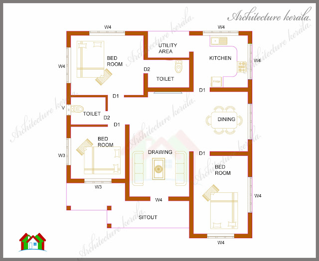 Three bedrooms in 1200 square feet kerala house plan architecture kerala - Plan of a three bedroom house ...
