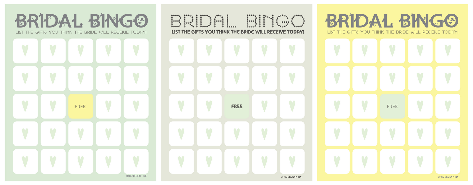 Free Bridal Shower Games Templates Free bridal shower bingo game