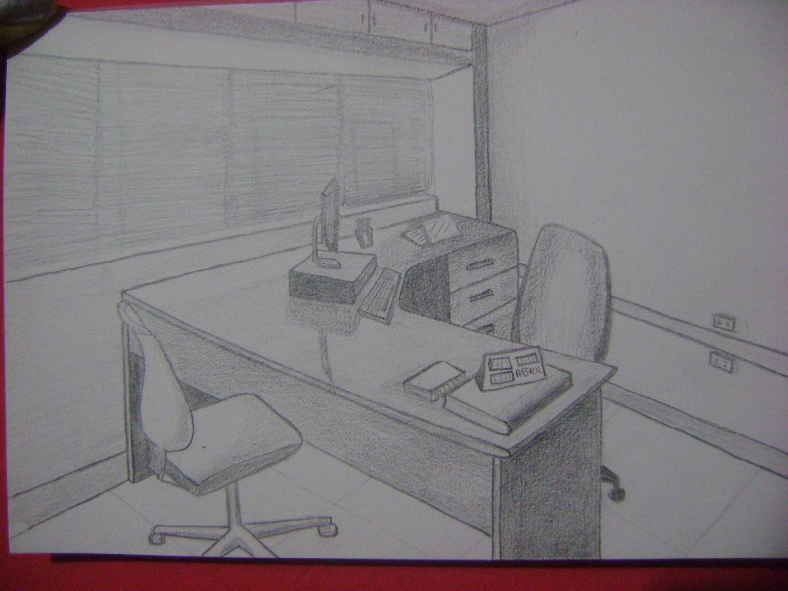 Dibujo perspectiva y color apuntes lorena pimentel arana for Dibujo de una oficina moderna