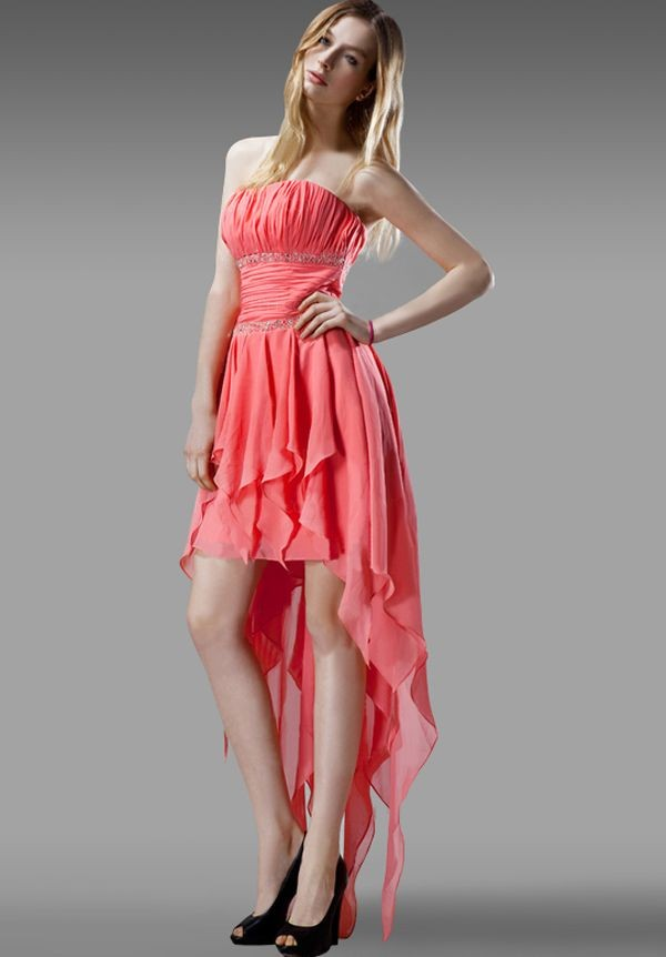 Chiffon Strapless A-Line High-Low Prom Dress