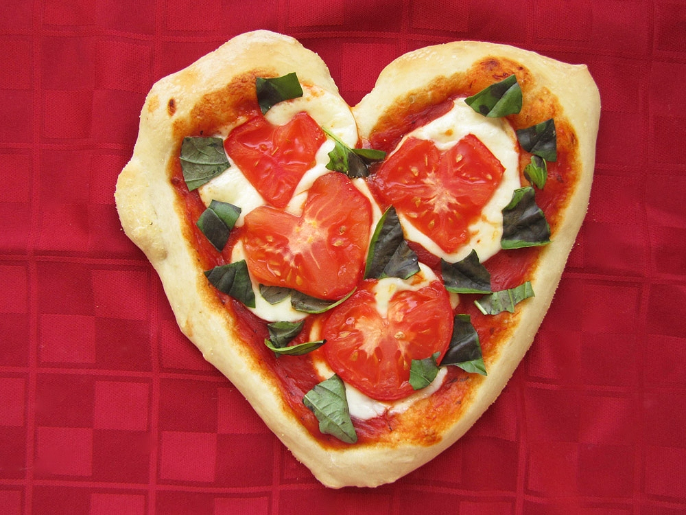heart shaped tomato personal pizza