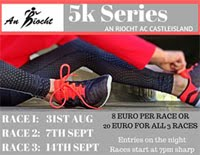 5k race series in Castleisland, Kerry... Fri 31st Aug, 7th & 14th Sept 2018