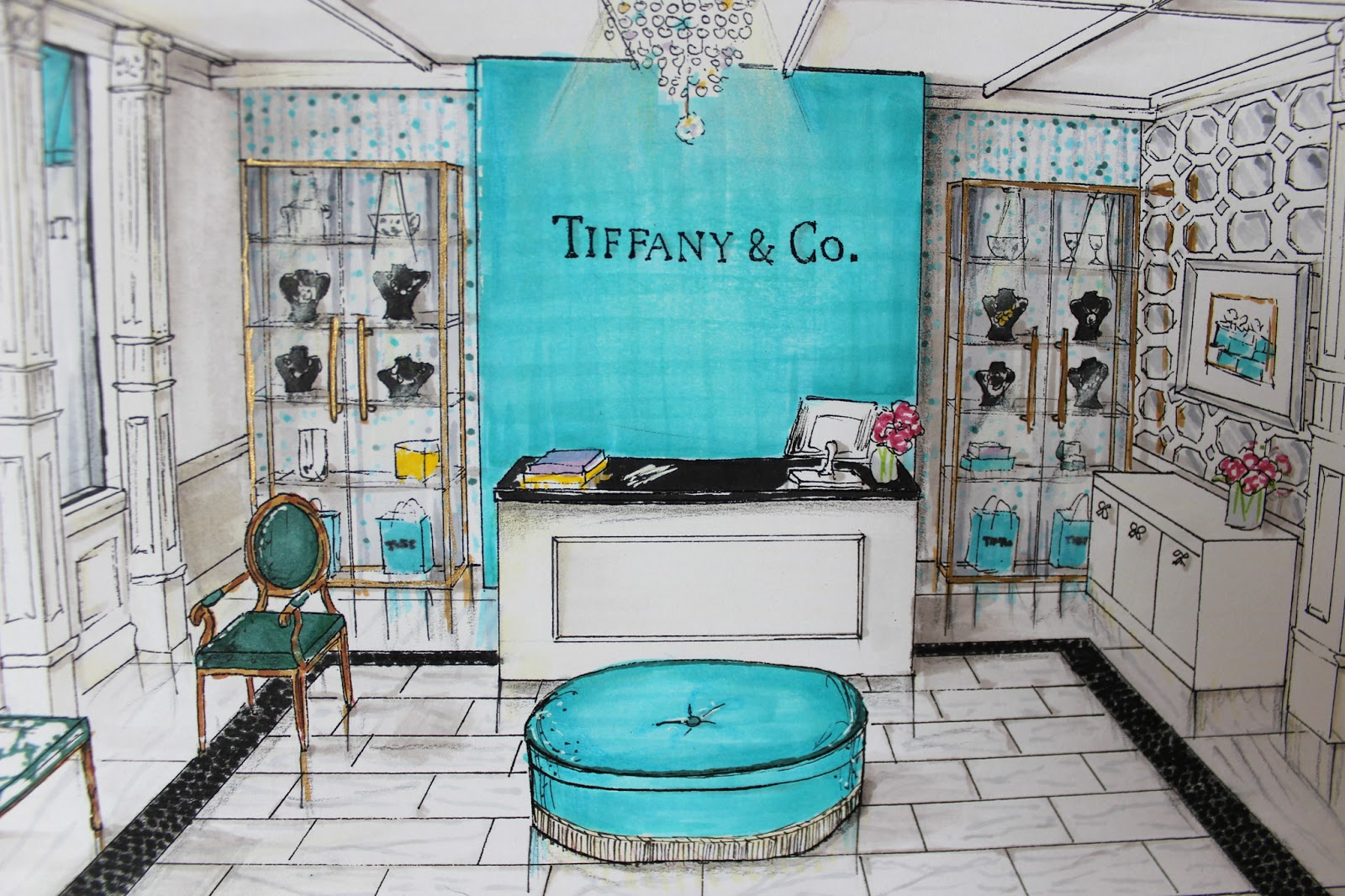 Tiffany leigh interior design tiffany co reception for Where is tiffany and co located
