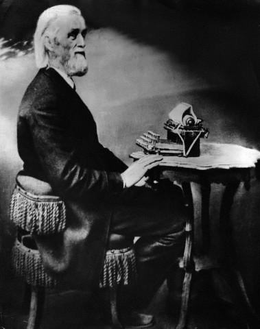 sholes at his typewriter