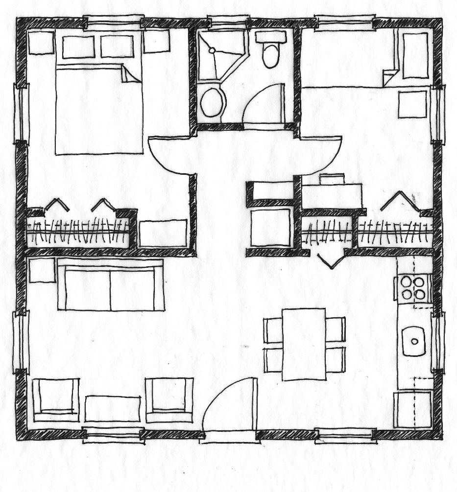 Small scale homes 576 square foot two bedroom house plans for Simple square house plans