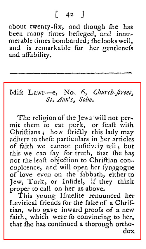 On the main line a 1793 review of a jewish prostitute in london for Harris s list of covent garden ladies