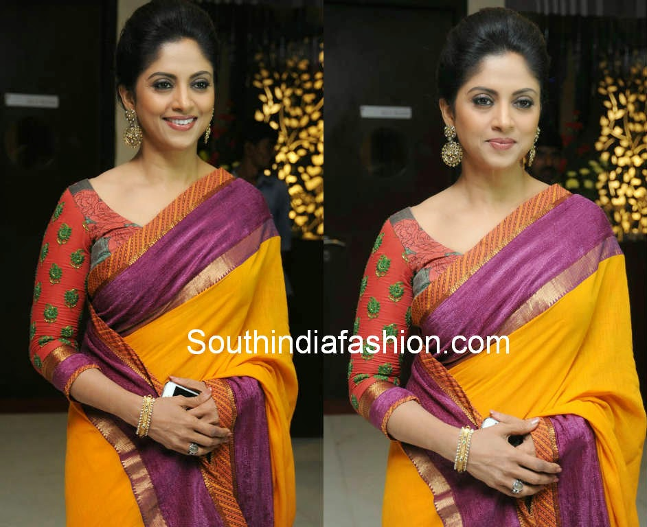 nadhiya yellow saree
