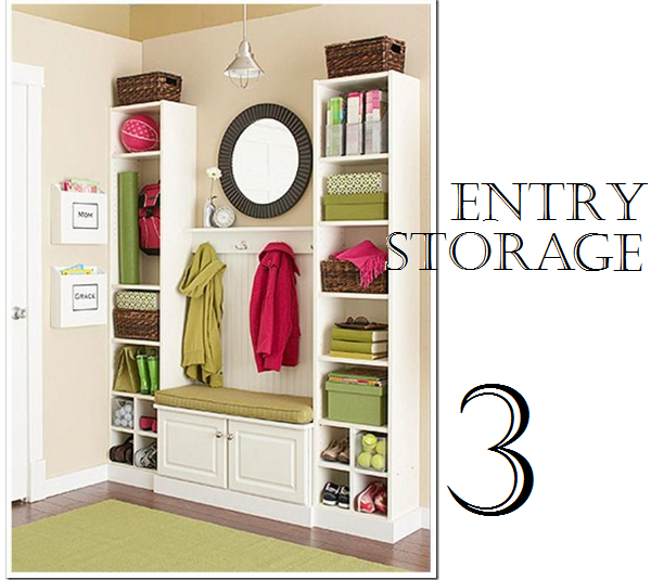 Use tall, narrow bookcases to provide additional storage in an entry way.