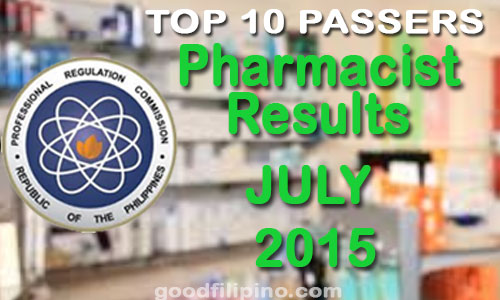 Top 10 Pharmacist PRC Board Exam Passers (July 2015)