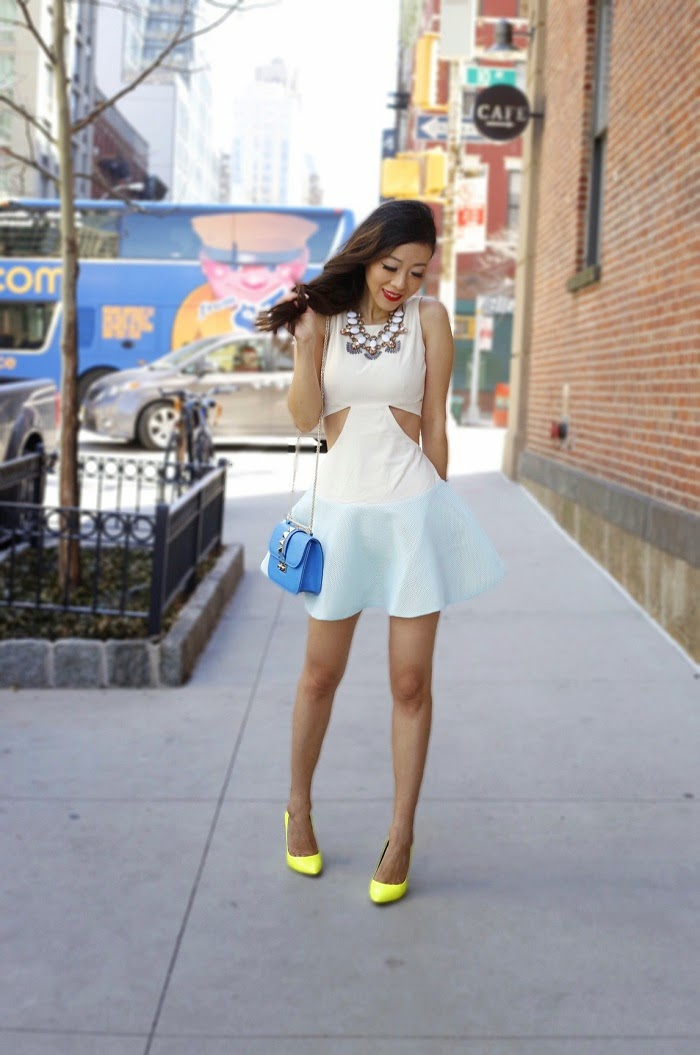 Asilio the airwaves dress, spring dress, easter dress, pastel color, mesh skirt, valentino lock bag, neon pumps, baublebar statement necklace, monica vinader bracelet, Daniel wellington watches, bloomingdales friends and family sale, on sale, fashion blog, street style, datenight outfit, spring datenight