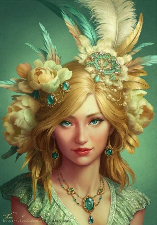 Viktoria Gavrilenko viccolatte deviantart ilustrações fantasia mulheres