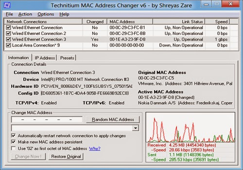 cara mengganti mac address wlan card dengan Technitium MAC Address Changer
