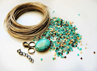Micro macrame cord and beads - materials kit for woven diamonds bracelet.