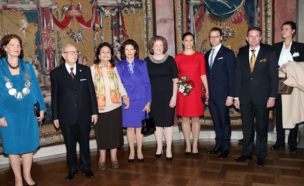 Queen Silvia of Sweden, Crown Princess Victoria and Prince Daniel of Sweden attended a lunch held at the City Hall for Tunisian President Beji Caid Essebsi and wife Saida Caid Essebsi
