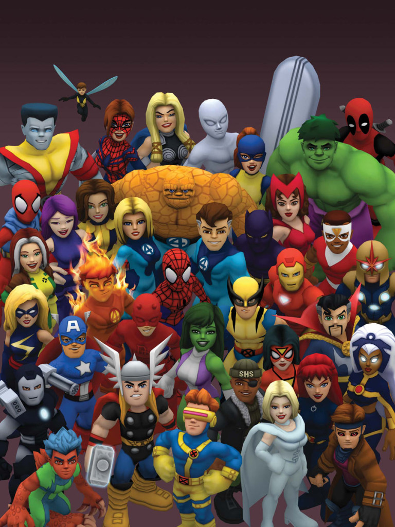 Psylocke is included in this pic of heroes in Marvel Super Hero Squad