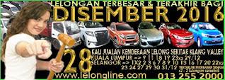 1 - 31/12/16 => 28 KALI JUALAN KENDERAAN LELONG SELURUH MALAYSIA, 8 TEMPAT SEKITAR LEMBAH KLANG