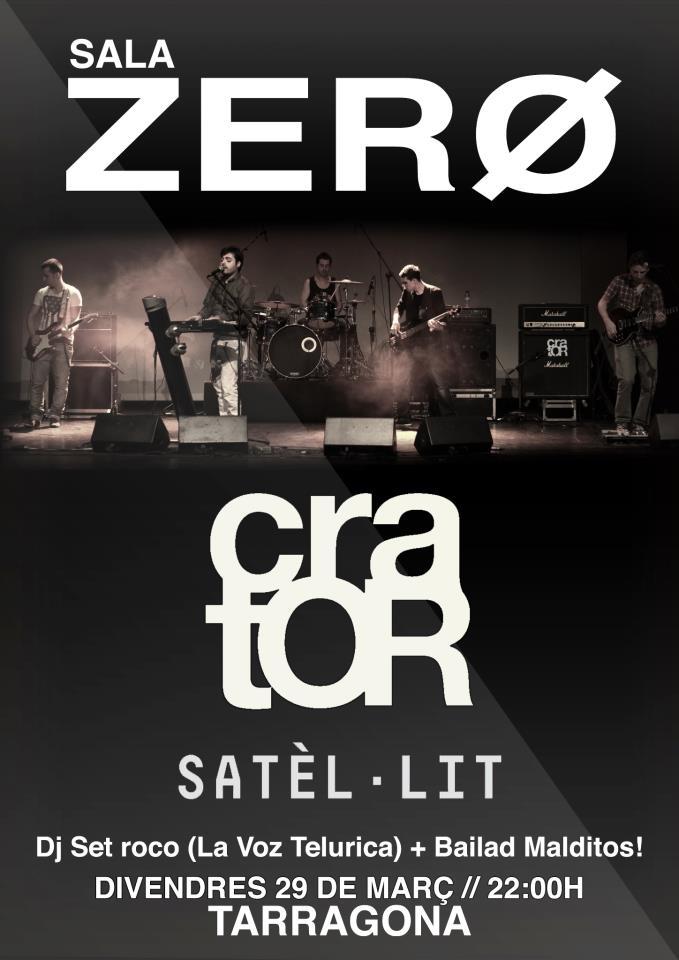 Crator en concert a la sala zero de tarragona el proper 29 for Sala 0 tarragona