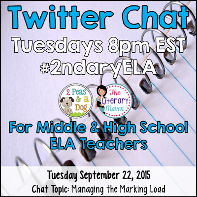 Join secondary English Language Arts teachers Tuesday evenings at 8 pm EST on Twitter. This week's chat will focus on managing the marking load in the ELA classroom.